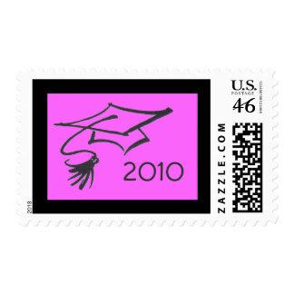 Casquillo del graduado sello-rosado y negro