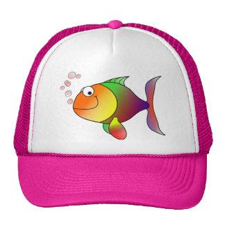 Casquillo feliz de los pescados gorros bordados