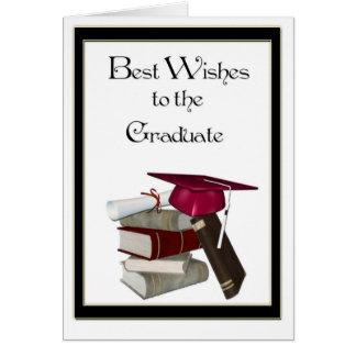Casquillo graduado del rojo de la enhorabuena tarjeta de felicitación