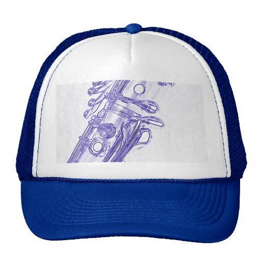 Casquillo o gorra azul del dibujo del Clarinet