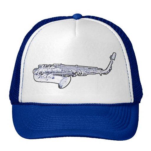 Casquillo o gorra azul del dibujo del saxofón