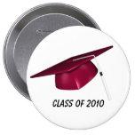 Casquillo rojo de la graduación del texto de encar pins