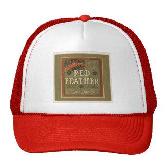 Casquillo rojo de la pluma gorras de camionero