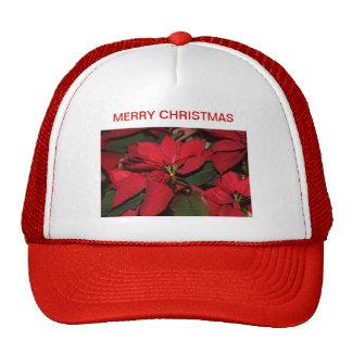 Casquillo, rojo, Felices Navidad, poinsettia Gorro De Camionero