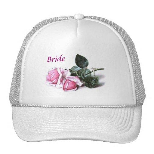 Casquillo rosado de la novia de los rosas del vint gorro