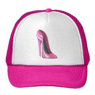 Casquillo rosado del arte del zapato del tacón alt gorra