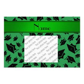 Casquillo verde conocido personalizado de la gradu impresion fotografica