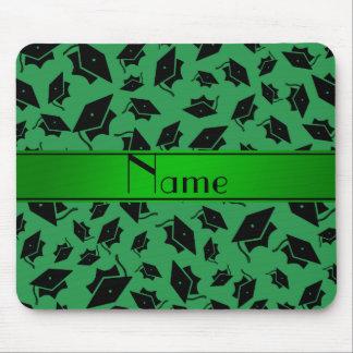 Casquillo verde conocido personalizado de la gradu alfombrillas de ratones