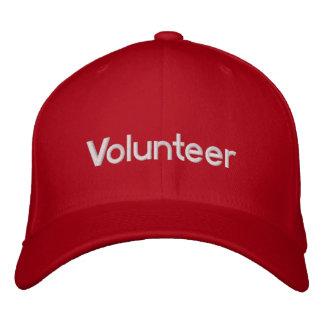 Casquillo voluntario bordado rojo gorra de béisbol bordada