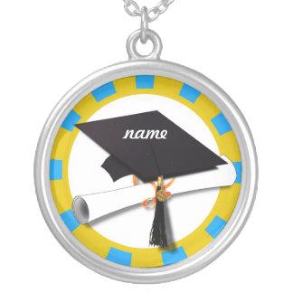 Casquillo w/Diploma de la graduación - oro y azul Colgante Redondo