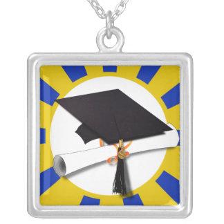 Casquillo w/Diploma de la graduación - oro y azul Joyeria Personalizada