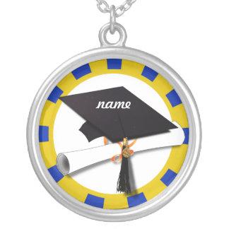 Casquillo w/Diploma de la graduación - oro y azul Colgante Personalizado