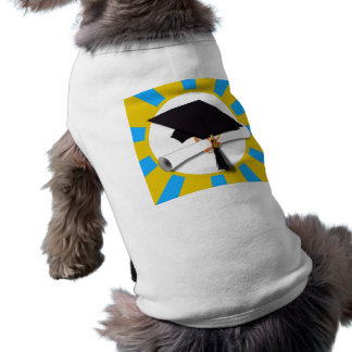 Casquillo w/Diploma de la graduación - oro y azul Camiseta Sin Mangas Para Perro