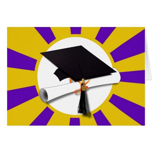 Casquillo w/Diploma de la graduación - oro y púrpu