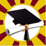 Casquillo w/Diploma de la graduación - oro y rojo Esculturas Fotograficas