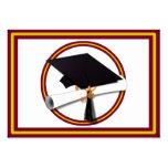 Casquillo w/Diploma de la graduación - oro y rojo Tarjetas De Visita Grandes