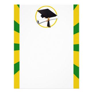 Casquillo w/Diploma de la graduación - oro y verde Membrete Personalizado