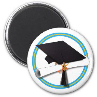 Casquillo w/Diploma del graduado - la escuela Imán Redondo 5 Cm