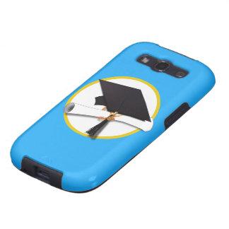 Casquillo w/Diploma - fondo azul de la graduación Galaxy S3 Fundas