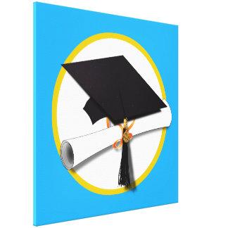 Casquillo w/Diploma - fondo azul de la graduación Impresiones En Lona Estiradas