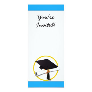 Casquillo w/Diploma - fondo azul de la graduación Anuncio Personalizado