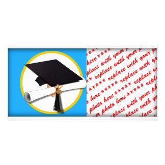 Casquillo w/Diploma - fondo azul de la graduación Tarjetas Personales Con Fotos