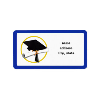 Casquillo w/Diploma - fondo azul marino de la Etiqueta De Dirección