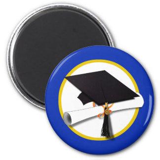 Casquillo w/Diploma - fondo azul marino de la Imán Para Frigorífico