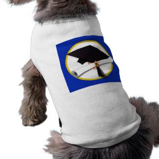 Casquillo w/Diploma - fondo azul marino de la Playera Sin Mangas Para Perro