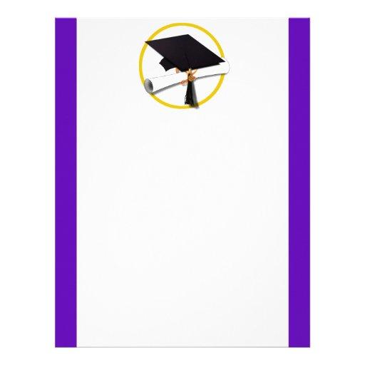 Casquillo w/Diploma - fondo púrpura de la Membrete A Diseño