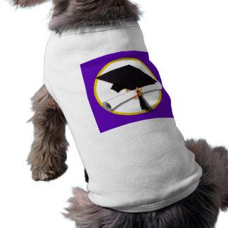 Casquillo w/Diploma - fondo púrpura de la Playera Sin Mangas Para Perro