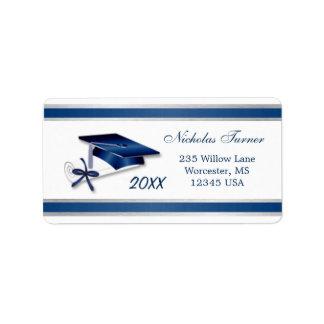 Casquillo y diploma azules de plata del mortero de etiquetas de dirección