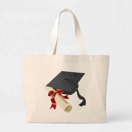 Casquillo y diploma de la graduación bolsas lienzo