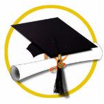 Casquillo y diploma de la graduación esculturas fotográficas