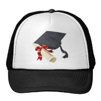 Casquillo y diploma de la graduación gorras de camionero