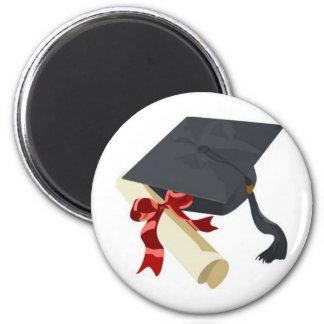 Casquillo y diploma de la graduación imán redondo 5 cm