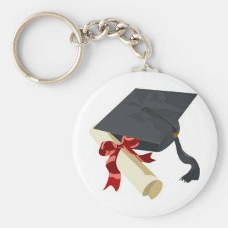 Casquillo y diploma de la graduación llavero redondo tipo pin