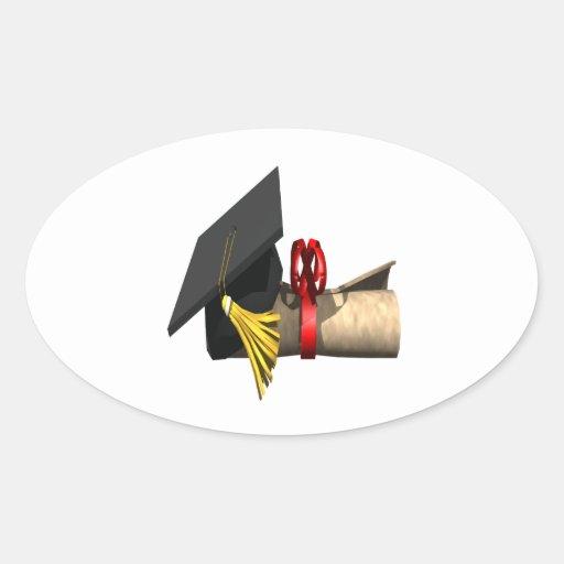 Casquillo y diploma de la graduación pegatina ovaladas personalizadas