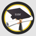 Casquillo y diploma de la graduación pegatinas redondas