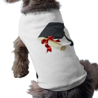 Casquillo y diploma de la graduación playera sin mangas para perro