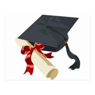 Casquillo y diploma de la graduación postales