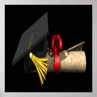 Casquillo y diploma de la graduación póster