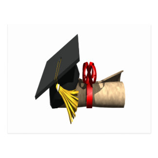 Casquillo y diploma de la graduación postal