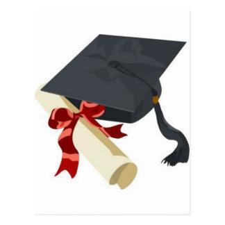 Casquillo y diploma de la graduación tarjetas postales