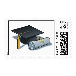 Casquillo y diploma de la graduación timbre postal