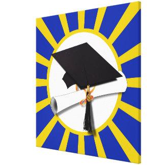 Casquillo y diploma del graduado con el azul y el impresiones en lienzo estiradas