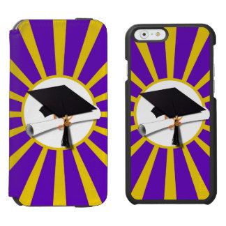 Casquillo y diploma del graduado - púrpura y funda cartera para iPhone 6 watson