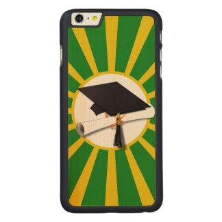 Casquillo y diploma del graduado - verde y colores funda de arce carved® para iPhone 6 plus slim