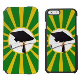 Casquillo y diploma del graduado - verde y colores funda cartera para iPhone 6 watson