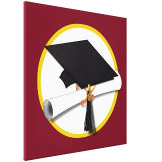 Casquillo y diploma - fondo rojo oscuro de la impresión en tela
